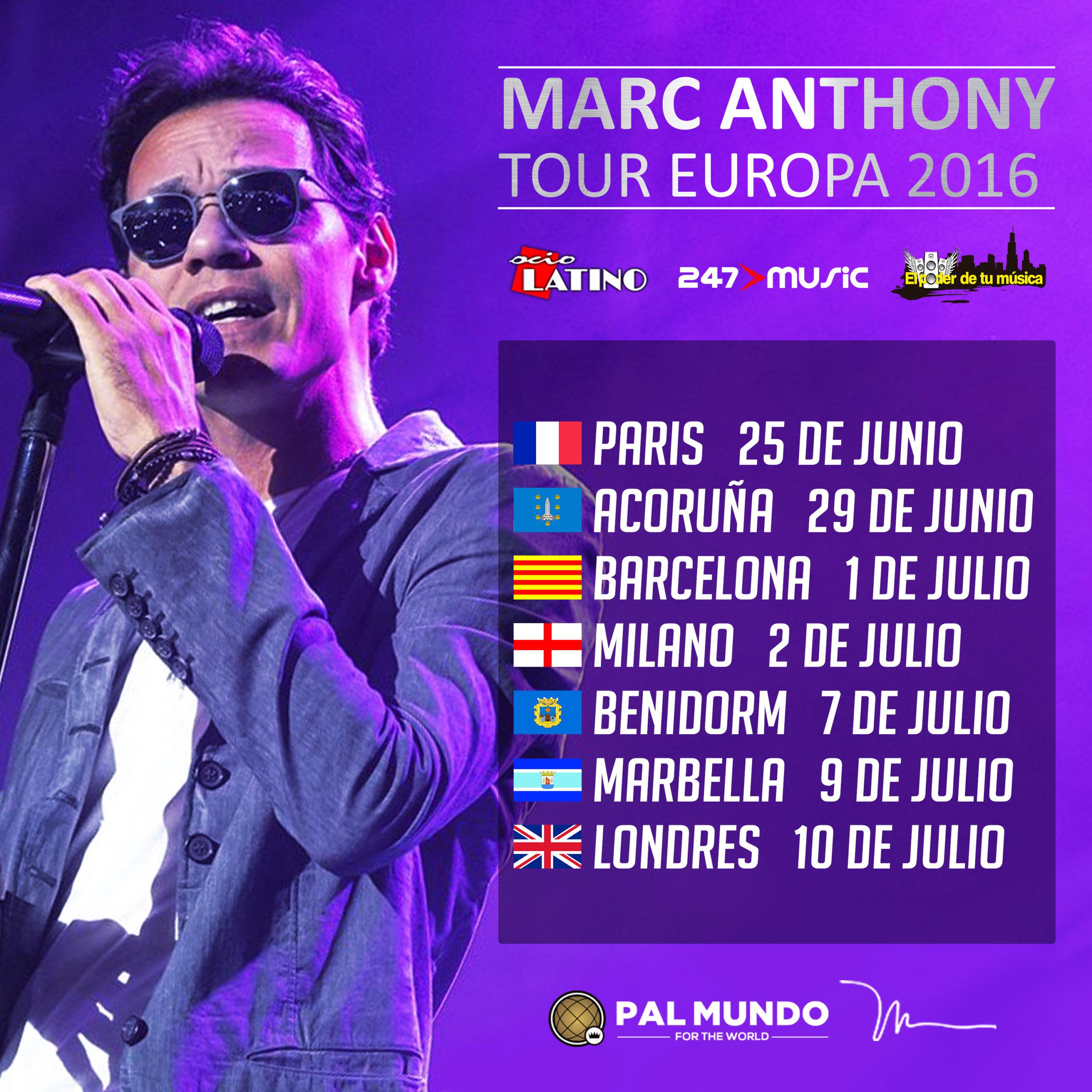 Conoce las fechas de los conciertos de Marc Anthony en Europa