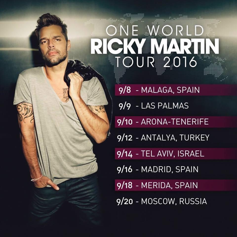 Ricky Martin hace oficial su gira europea con cinco shows en España