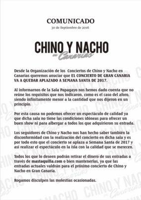 ¡Vuelve y juega! Chino y Nacho cancelan concierto en Las Palmas