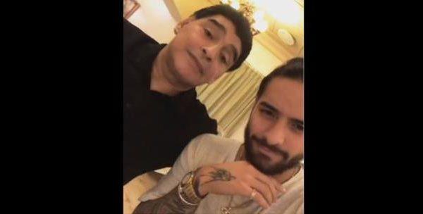 El beso de Maradona y Maluma en el Mundial de Rusia